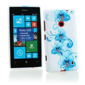 China Blue Floral Plastic & Soft Silicone Nokia Mobile Phone Cover , Nokia Lumia 520 Case on sale