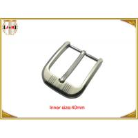 Customized Silver Plated Zinc Alloy Metal Pin Belt Buckle With Emboss Logo Manufactures