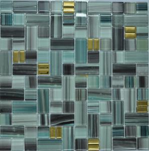 China Malachite green glass mosaic tile kitchen backsplash on sale
