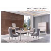 New American style Dining room furniture long table with six chairs and Buffet cabinets from China furniture supplier Manufactures