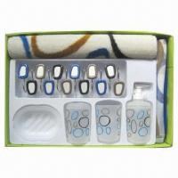 China 4-piece bathroom set, includes shower curtain/hooks/mat, made of resin on sale