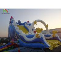 China PVC Tarpaulin Blue Color Inflatable Bouncer Kids Favorite Slide Playground Theme Park For Rental on sale