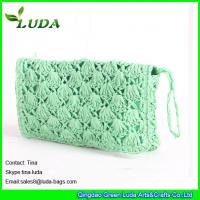 light green lady clutch bag  paper straw crochet handbags Manufactures