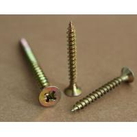 Quality pozi drive countersunk head flat head yellow zinc plated chipboard screws for sale