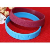 Lettering Debossed Silicone Wristbands , Rubber Promotional Bracelets Smooth Edge Manufactures