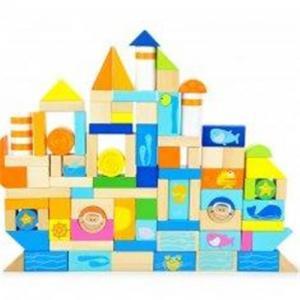 China Ocean Animal Blocks Educational Designed Drums Beech Children Wooden Building Blocks on sale
