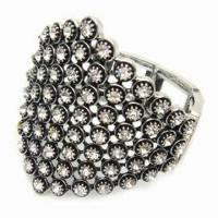 Zinc alloy hinged bangle with glass stone, available in various designs Manufactures