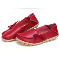 Womens Casual Leather Shoes Moc Toe Stylish With Soft Flat Outsole Women Footwear Manufactures