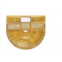Buy cheap Ins Popular Women Charcoal Rattan Bamboo Clutch Bag , Open Closure Bamboo from wholesalers