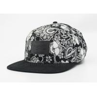 Customized Cotton Twill Printed Baseball Caps For Men / Women , Black And White Manufactures