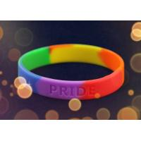Quality Personalised Silicone Bracelet Wristband Rainbow Color For School Gift for sale