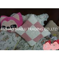 Pink / White Square Milk Cotton Crochet Cushion Cover Hollow Out Knit Pillow Covers Manufactures