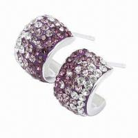 Silver Stud Earring, Decorated with Crystal, Handicraft Technology, Available in Different Colors Manufactures