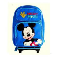 "Disney Mickey Mouse Rolling Backpack With DETACHABLE Wheeled Trolley- 16"" Large BLUE School Bookbag"
