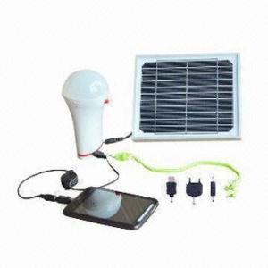 3W Solar Lighting Kits, Plug-and-Play Series, 5.4V/300 to 1,000mA Mini USB Output Manufactures