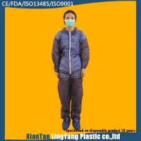 China Elastic Cuff And Ankle Disposable Blue Overalls , Disposable Waterproof Suit With Hood on sale