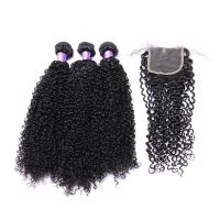 China 100% Natural Short Kinky Curly Peruvian Hair Extensions Full Cuticlea Ligned on sale