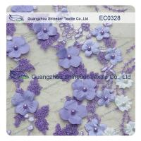 Pearl Metallic Embroidery Lace Fabric  Light Purple flower for garment Manufactures