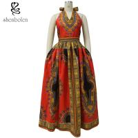 Dashiki  African print dress sleeveless sexy V neck neck halter neckline Manufactures