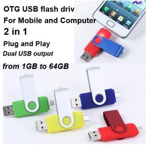 Smart Phone OTG USB Flash Disk , Logo Printing Mobilephone USB Stick 1gb 2gb 4gb Manufactures