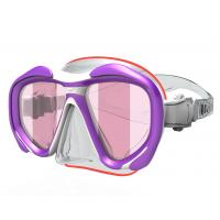 Pink Purple Diving Mask Snorkel, diving With Pc Frame Silicone Gasket , Temperd Glass Lens Manufactures