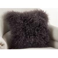 Dark Gray Fuzzy Throw Pillows , Soft Curly Hair Wool Decorative Bed Pillows  Manufactures