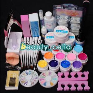 12 Color UV Gel Polish Nail Art Tips Glue Brush Manicure Tools DIY Kit Set Manufactures