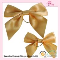 China Gold  pre tied elastic bows for boxes , beautiful ribbon hair bows wholesale