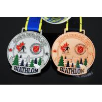 Buy cheap Canada Sports Skiing Events Custom Metal Medals, Raised Metal Shiny And Recess Mett Effect, Sublimated Ribbon from wholesalers