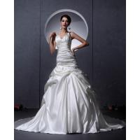 White Thick Autumn couture V Neck Wedding Dresses Women drop waist Wedding gowns Manufactures