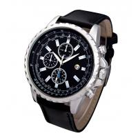 China Water Resistance Men Leather Band Quartz Watch Stainless Steel Case on sale