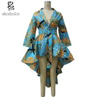 High Low Hem Wrap African Inspired Dresses Clothing With Belt , African Print Wedding Dresses Manufactures