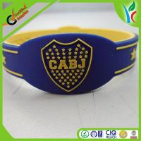 China Charm Artificial Sports Silicone Bracelets , Rainbow Colorful Personalized Rubber Wristbands on sale