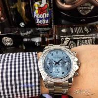 Perfect Replica Rolex Daytona Stainless Steel Diamond Bezel Ice Blue Dial 43mm Watch Manufactures