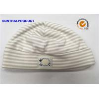 Yarn Dye Stripe Baby Bibs And Hats 100% Cotton Interlock One Size Organic Cotton Baby Hats Manufactures