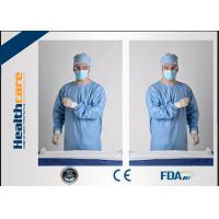 Quality Blue Disposable Surgical GownsSterile Reinforced Knitted Wrists Gowns ISO CE FDA Approved for sale