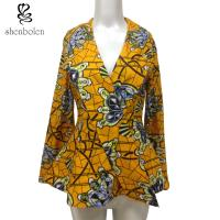 Fashion Design Women African Ladies Jackets Long Flare Sleeve Wax Printed Manufactures