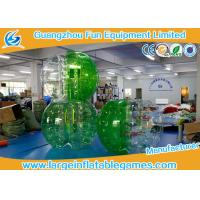 Soft Handle / Safe Belt Inflatable Green half-color bumper ball  with SGS CE Certification Manufactures