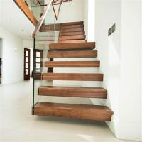Interior modern decoration wood straight stairs with standoff glass railing Manufactures