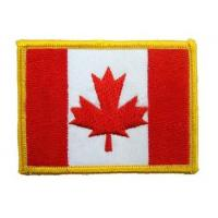 Three thread colors and iron-on , twill 100% embroidered Canadian flag patches Manufactures