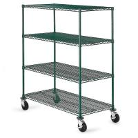 Green Epoxy Metal Commercial Mobile Wire Shelving In Plant Growing Environment Manufactures