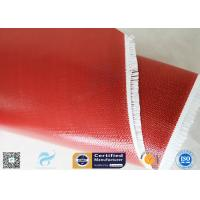 510G Red Color Satin Weave Silicone Coated Fiberglass Fabric 260℃ 0.45mm Manufactures