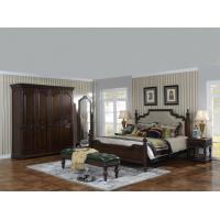 Sandalwood Bedroom set Classic style BT-2902 High fabric Upholstered headboard Wooden king size bed with Cloth Wardrobe Manufactures
