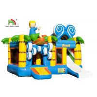 China EN14960 Beach Design Inflatable Jumping Bouncer With Mesh And Slide on sale
