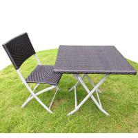 Square PE Wicker Steel Foldable Table With Chair Outdoor Rattan Set / Bistro Set Manufactures