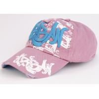 Quality 6 Panel Printed Pink Sport Baseball Caps Embroidered Cotton Twill Curved Brim for sale