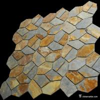 Natural stone Slate Meshed Back Landscape Flagstone Pavers Beige / Green / Grey / Yellow Color Manufactures