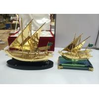 Metal Alloy Arab Cultural Souvenirs / Arabian Fishing Boat Model With Crystal Base Manufactures
