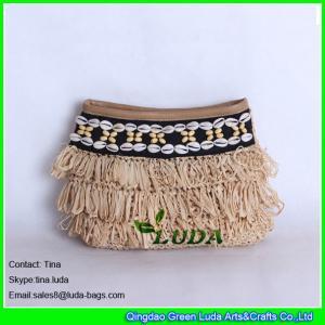 China LUDA seashall decoration hand crochet straw bags raffia handbags on sale
