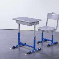 Single Dual Modern Student Table And Chair Set With Groove HDPE Material Manufactures